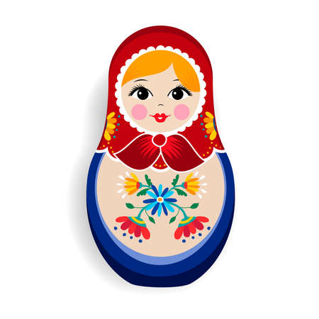 Traditional russian doll ornament isolated on white background. Nesting matrioska girl, souvenir from Russia in hand drawn floral dress. Иллюстрация