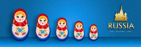 Small russian nesting doll web banner for russia special event. Traditional matrioska woman souvenir with floral dress on blue color background. Illustration