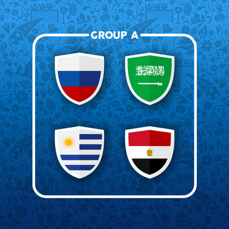 Soccer championship event schedule for 2018. Group A country team list of football match games. Includes Russia, Saudi Arabia, Egypt and Uruguay.