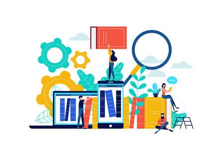Illustrazione di libreria di libri virtuali, persone che studiano per la preparazione agli esami universitari, app per telefono per l'apprendimento a distanza o concetto di e-library.