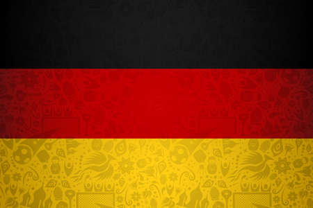 Germany flag symbol background for special soccer sport event. Includes russian style decoration icons. Illustration