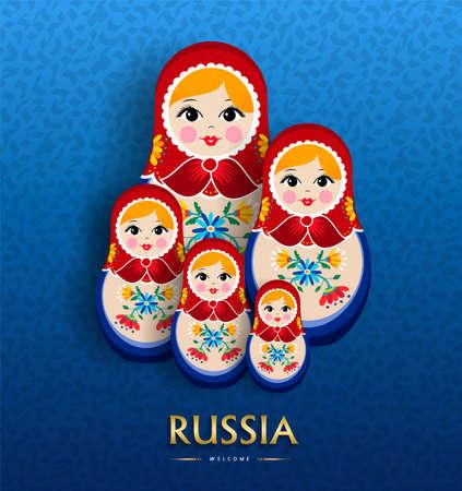 Russische poppenaffiche voor toerisme in Rusland. Traditionele matrioska vrouw souvenir met bloemen jurk op blauwe kleur achtergrond.