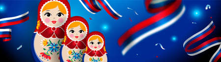 Small russian nesting doll web banner for russia sport event. Traditional matrioska woman souvenir with floral dress on celebration background. Illustration