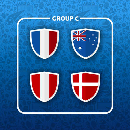 Soccer championship event schedule for 2018. Group C country team list of football match games. Includes France, Australia, Peru and Denmark. Ilustração