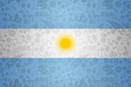 Argentina flag symbol background for special soccer sport event. Includes russian style decoration icons.