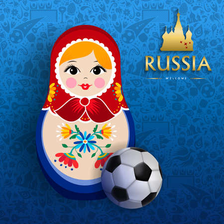 Russian doll poster for russia sport event. Traditional matrioska woman souvenir with soccer ball on blue color background.