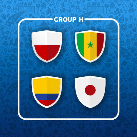 Soccer championship event schedule. Group H country team list of football match games. Includes Colombia, Japan, Poland and Senegal.