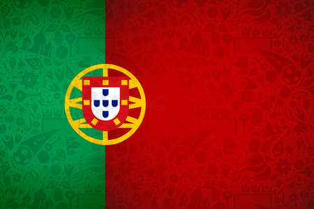 Portugal flag symbol background for special soccer sport event. Includes russian style decoration icons. Иллюстрация