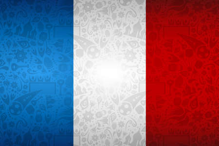 France flag symbol background for special soccer sport event. Includes russian style decoration icons. Foto de archivo - 102566501