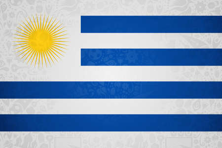 Uruguay flag symbol background for special soccer sport event. Includes russian style decoration icons.