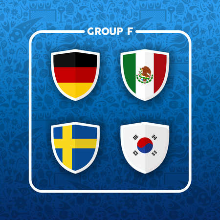Soccer championship event schedule for 2018. Group F country team list of football match games. Includes Germany, Korea, Mexico and Sweden.