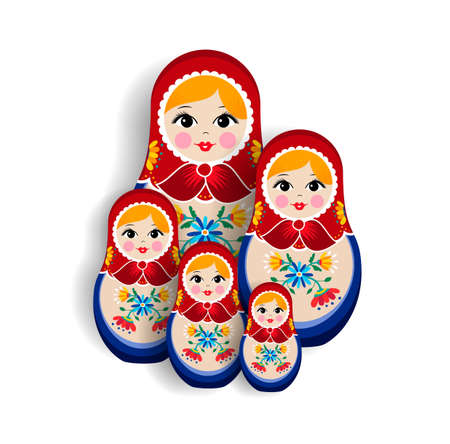 Set of traditional russian doll ornaments isolated on white background. Nesting matrioska girl, souvenir from Russia in hand drawn floral dress.