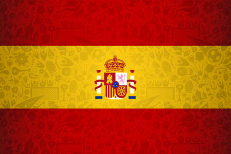 Spain flag symbol background for special soccer sport event. Includes russian style decoration icons. Ilustração