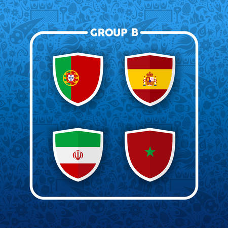 Soccer championship event schedule for 2018. Group B country team list of football match games. Includes Portugal, Iran, Spain and Morocco. Иллюстрация