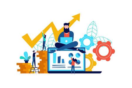 Internet business illustration, laptop computer app success concept. Online finance and money management idea.