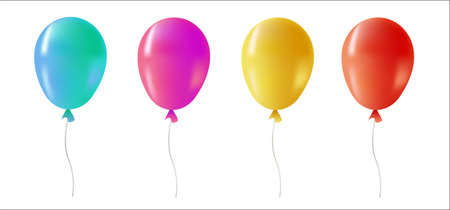 Multi color helium balloons on isolated background. Colorful party decoration ideal for birthday, anniversary or special event. Illustration