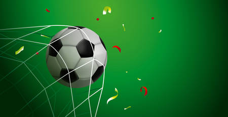 Soccer match web banner for special sport game event. Football ball scoring goal with confetti celebration and copy space background.