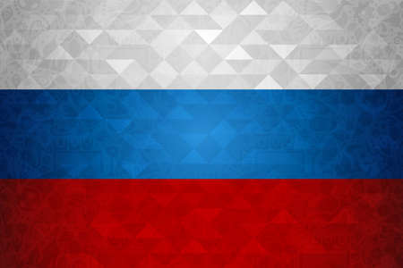 Russia symbol background in country flag colors. Traditional russian template with abstract geometric texture. 일러스트