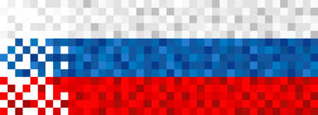 Russia flag background in pixel art style. Pixelated russian web banner design.