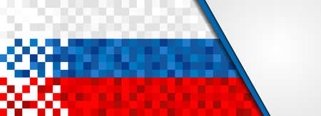 Russia flag background in pixel art style. Pixelated russian web banner design with copy space.