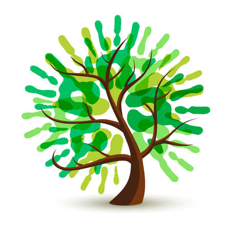 Green tree with human hand print art. Eco friendly concept illustration for environment help, nature care or charity project.