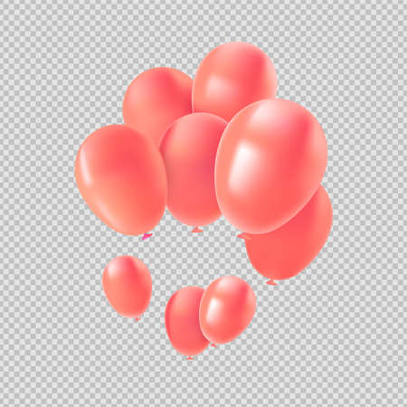 Pink balloon set, isolated transparent background elements in metallic color. Valentines day decoration or party ornament.