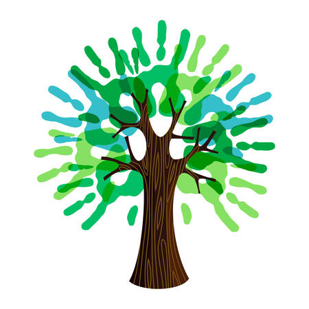 Tree symbol with human hands as green leaves. Concept illustration for organization help, environment project or social work.
