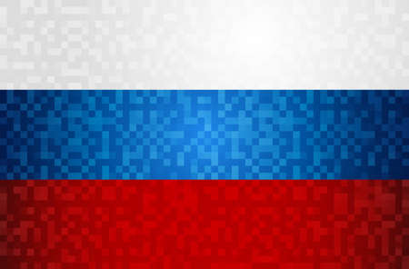 Russia pixel art background of country flag. Traditional russian color template.