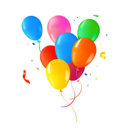 Multi color helium balloons on isolated background. Colorful party decoration ideal for birthday, anniversary or special event.