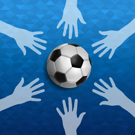 Soccer event illustration, sport game background with people hand and foot ball. United community for sports.