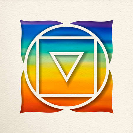 Muladhara, 1st root chakra illustration in paper cut style. Colorful watercolor background, yoga shape.