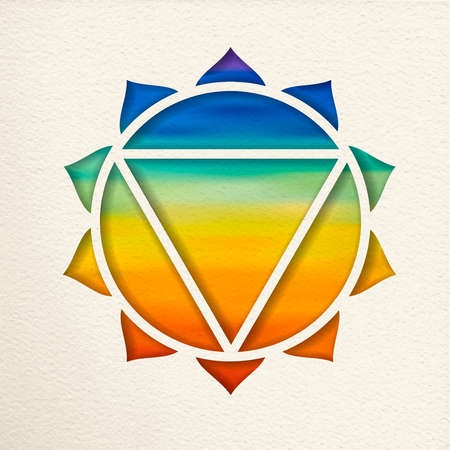 Manipura, 3rd solar plexus chakra illustration in paper cut style. Colorful watercolor background, yoga shape.