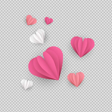 Pink papercut hearts on transparent background. Isolated heart shapes made of paper, romantic ornament elements or valentines day decoration. Çizim