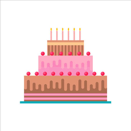Birthday cake on isolated background. Delicious dessert food pastry made of chocolate and strawberry with celebration candles.