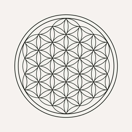 Blume des Lebensmandalas im Umrissstil. Zen-Illustration, Yoga-Hintergrund.