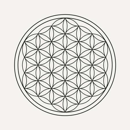 Fiore della vita mandala in stile contorno. Illustrazione Zen, sfondo yoga.