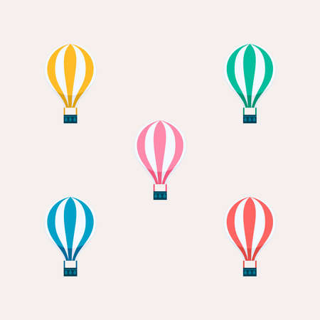 Hot air balloon set on isolated background. Colorful balloons flying ideal for kids or transport illustration.