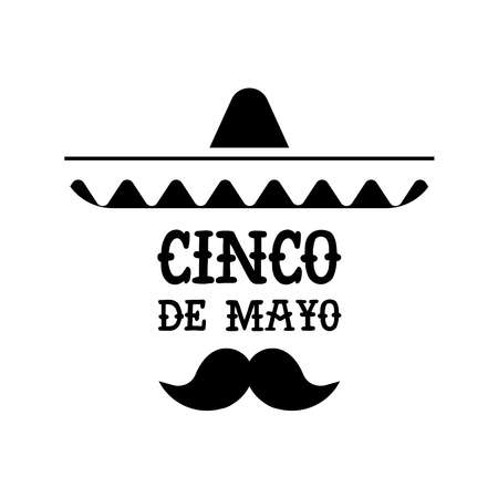 Happy Cinco de Mayo party illustration. Isolated Mexican culture celebration quote of mariachi hat.