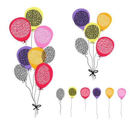 Multi color hand drawn balloons on isolated background. Colorful party decoration ideal for birthday, anniversary or special event.
