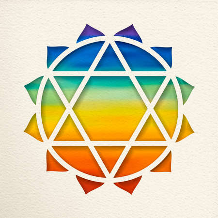 Anahata, 4th heart chakra illustration in paper cut style. Colorful watercolor background, yoga shape.