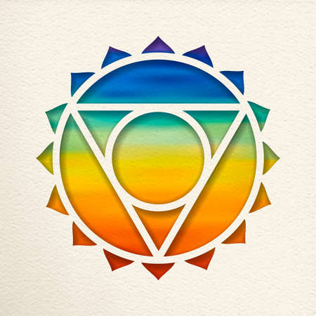 Vishuddha, 5th throat chakra illustration in paper cut style. Colorful watercolor background, yoga shape.