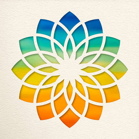 Sahasrara, 7th crown chakra illustration in paper cut style. Colorful watercolor background, yoga shape. Illustration