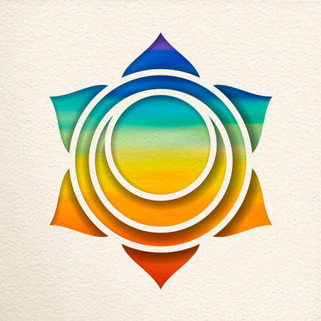 Svadhisthana, 2nd sacral chakra illustration in paper cut style. Colorful watercolor background, yoga shape.