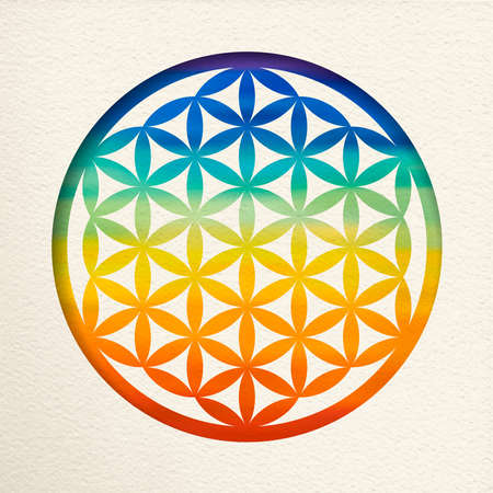 Flower of life mandala in paper cut style with colorful watercolor. Zen illustration, yoga background. Иллюстрация