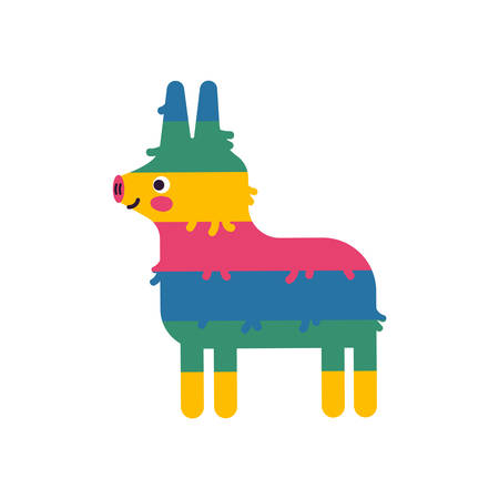 Mexican donkey pinata on isolated background for special event. Cute children birthday party decoration of latin american culture.