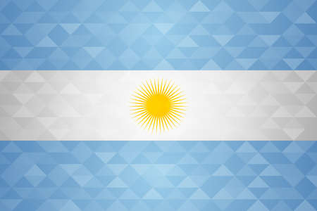 Argentina flag for special country event with geometric triangle background. Vettoriali
