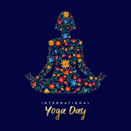 International yoga day card for celebration event.