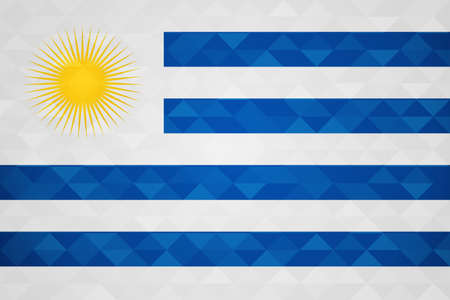 Uruguay flag for special country event with geometric triangle background.