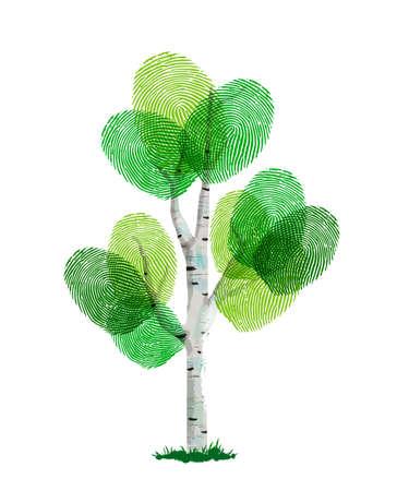 Albero di impronte digitali fatto di impronte digitali umane verdi. Concetto di identità, aiuto per l'ambiente o cura della terra.