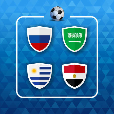 Soccer championship event schedule. Group A country team list of football match games. Includes Russia, Saudi Arabia, Egypt and Uruguay.